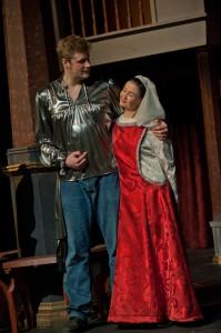 Gratiano (Drew McGowan) and Nerissa (Michelle Heinz)